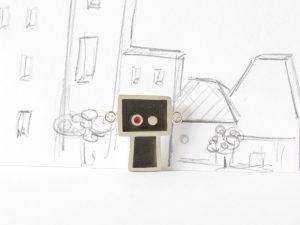 Gentil robot devient légèrement fou, sterling silver, resin and concrete pendant, no.330
