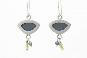 Sterling silver, peridot and pearl earrings, no.213
