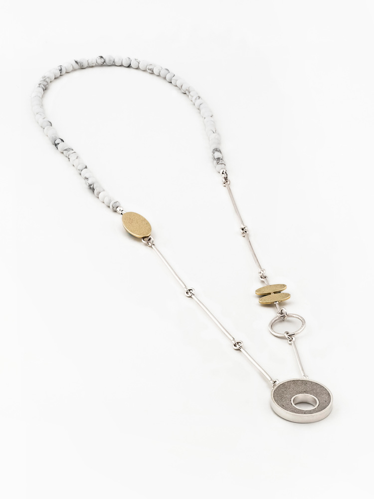 Sterling silver, brass, concrete and howlite necklace, one of a kind