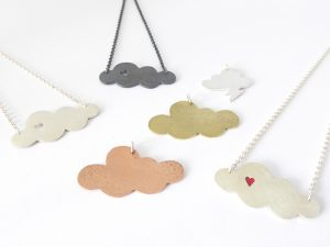Cloud necklaces, sterling silver, brass, copper and resin