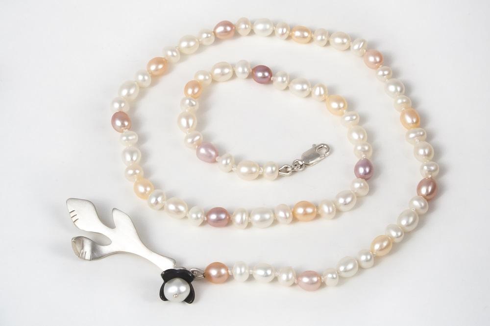 Collier perles naturelles et argent sterling, no 329