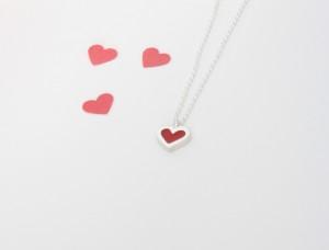 Pendentif cœur en argent sterling et résine, no 338
