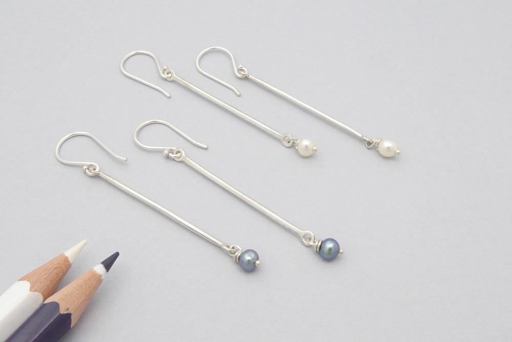 Boucles d'oreilles en argent sterling et perles naturelles
