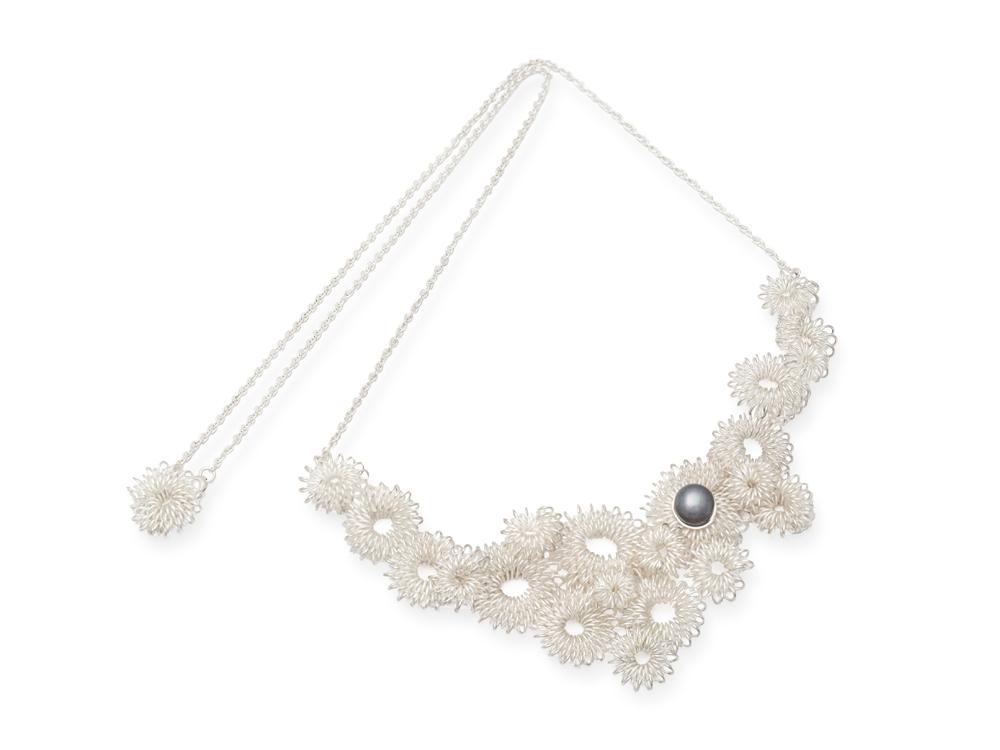Collier en argent sterling et perle, pièce unique
